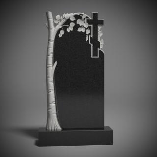 Памятник гранитный с берёзой и крестом