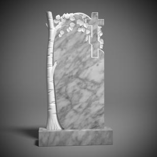 Памятник мраморный с берёзой и крестом