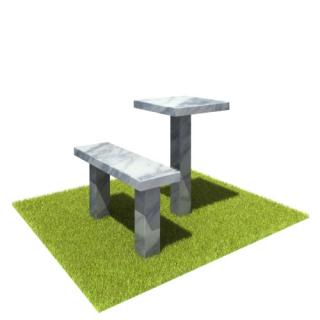 Комплект стол и лавка SLM1 из мрамора