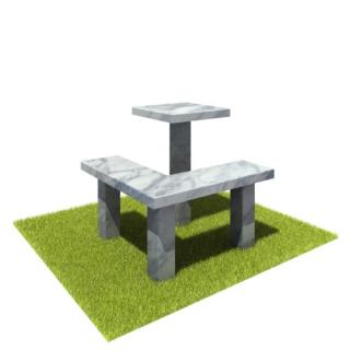 Комплект стол и лавка SLM2 из мрамора