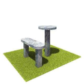 Комплект стол и лавка SLM3 из мрамора
