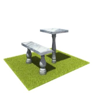 Комплект стол и лавка SLM4 из мрамора