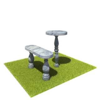 Комплект стол и лавка SLM5 из мрамора