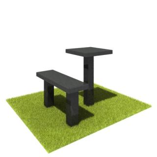 Комплект стол и лавка SL01 из черного гранита