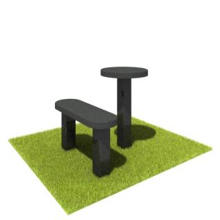 Комплект стол и лавка SL03 из черного гранита