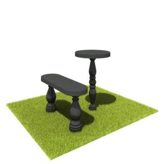 Комплект стол и лавка SL05 из черного гранита